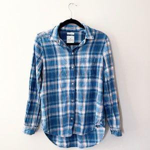 AMERICAN EAGLE Boyfriend Fit Blue Flannel